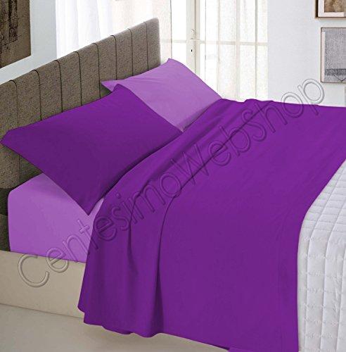 Centesimo web shop completo lenzuola letto per materasso 160x190 cm prodotto in italia 100% cotone due piazze matrimoniale tinta unita bicolore prugna e lilla c1 -
