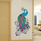#7: Rawpockets Decal ' Bluish Peacock ' (Material - PVC Vinyl Matte Finish, Wall Coverage Area - Height 60cm X Width 110cm) ( Pack of 1) Wall Sticker