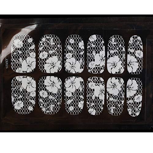Amorar Nagelsticker, weißer Spitze Nagelabziehbilder Rhinestone Blumen Adhesive Nail Art Sticker Scheiben Glitzer DIY Dekorationen Nagel Kunst Sticker Maniküre Tipps Abziehbild Deko (Blumen Nail Dekorationen)