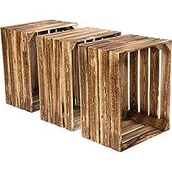 HOLZBRINK Caisse Décorative en Bois pour Les Fruits, Boîte de Pin, 3 Pièces, 50x40x30 cm, Nouvelle en Bois brûlé, HOK-01-NG-00