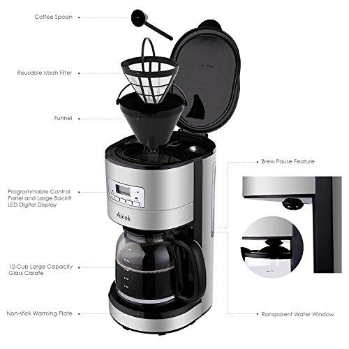 Aicok Cafetera de Goteo Programable Cafetera Digital Térmica 1000 W Capacidad de 12 Tazas 1 8 L Pantalla LCD Jarra de Cristal Color Negro