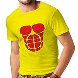 lepni.me T-shirt pour hommes Pour votre croissance musculaire - chemises d'entraînement drôle (Medium Jaune Rouge)