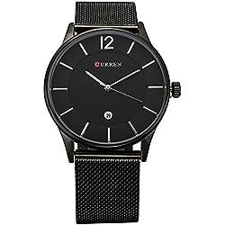 Bonamana Men's Business Style Big Dial Stainless Steel Wristwatch with Link Bracele-Black