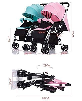 LQRYJDZ Cochecito de bebé Gemelo, Desmontable, Ligero, Plegable, arnés de 5 Puntos, Canasta de Almacenamiento de Gran tamaño, Carro Doble