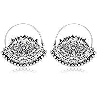 Ahilya Jewels Dakshin collection .925 Sterling Silver Hoop Earrings
