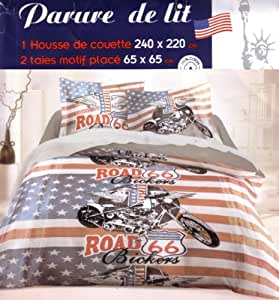 Parure de lit Housse de couette double 2 personnes 240x 220 cm - VOYAGE US ROUTE 66 avec Moto Harley Davidson + 2 Taies d'oreiller - USA ROAD 66 Duvet Cover