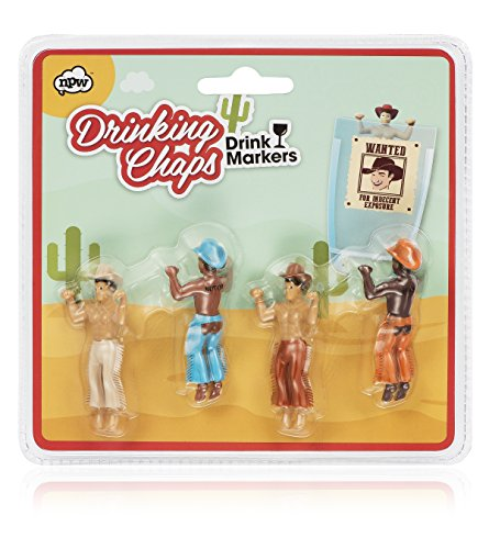 Cowboy Chaps Cocktail/Wine Drink Markers, Set of 4