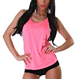 Jela London Damen Träger Tank-Top Basic einfarbig Melange Stretch Sommer Loose Fit Oversize dünn durchsichtig transparent, Neon Pink