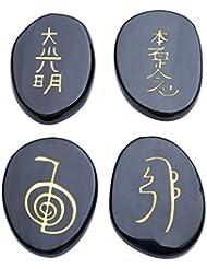 Jovivi FPG-20mmx25mm 4 Pièrres - Agate Noir Naturelles (Usui Reiki symbols) Ellipse Aplati Tibétin Bouddhiste Décoration Bibelot + Coffret Cadeau