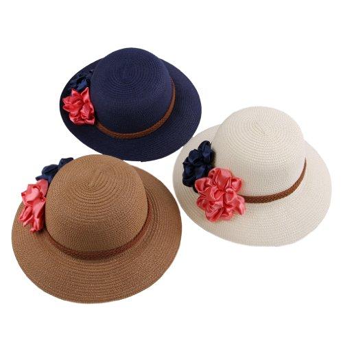 Smile YKK Chapeau Femme Casquette Décor Fleur de soleil Bonnet Mode Outdoor de Plage Blanc