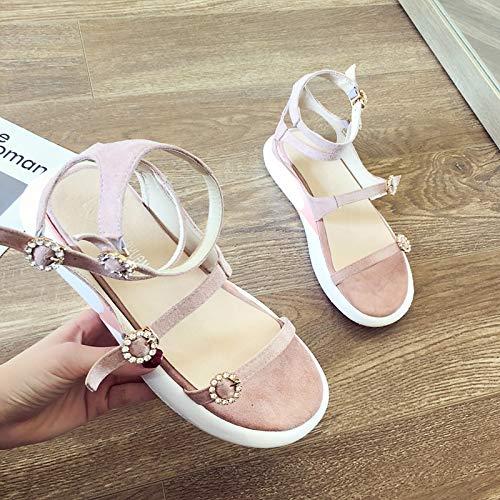 Uhrtimee Sandals Female 2019 Sommer Neue koreanische Version des Wilden schwarzen dicken unteren Zehs Rome Word Buckle mit flachem Unterteil Rome Shoes, 37, Pink - Höhe Fuß-unterteil