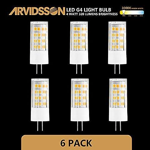 Arvidsson lampadine LED G44W, 12V ac/dc, Bianco caldo 3000K Faretto di ricambio per 40W lampadine alogene a risparmio energetico 320lm Angolo a 360gradi 80+ cri-not dimmerabile
