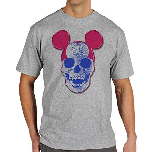 Skull Mickey Mouse Diamond Background Herren T-Shirt Grau