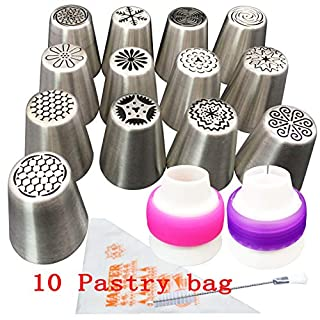 Russian Icing Piping Nozzles Tips Pcs/set, Aixin 13pcs Stainless Steel Large Size Russian Piping tips + 1x Brush + 10x Pastry Disposible Bag + 1x Coupler Syringe Set Nozzle (13 set Nozzles Tips)