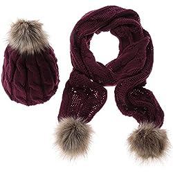 Ducomi® Lux & Co. - Luxury Designer Combinazione Sciarpa e Cappello in Morbida Lana con Pom Pom (Bordeaux)