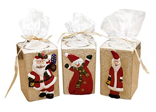 Set de 3 Portavelas de Navidad Papá Noel velas
