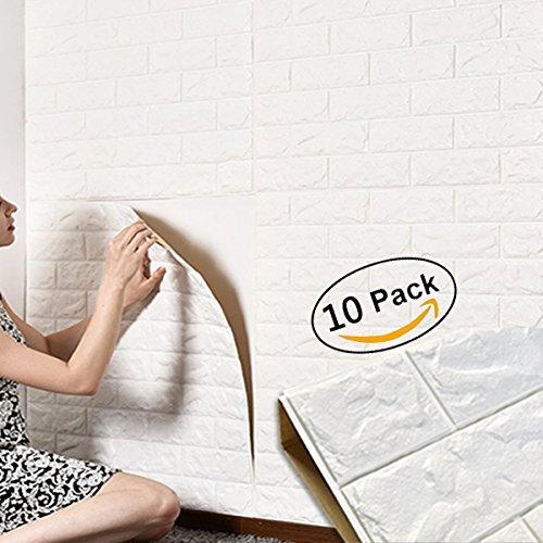Mousse autocollante PE amovible pour salon sq ft 3.875//pcs Papier-peint briques 3D nouveau style 5 pi/èces blanches