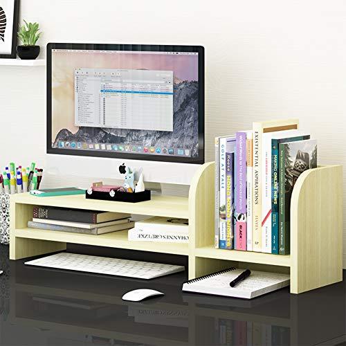 KKLTWU Holz Multifunctional Bildschirmständer, Büro Desktop Organizer 2 Dritte Mit Bücherregal Multifunctional Stauraum Platzsparende Laptopständer-d 70x24x20cm(28x9x8inch) -