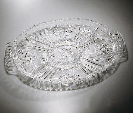 Handcut Crystal Oval Relish/Appetizing Dish - Pinwheel by MyCuisina - Crystal-relish Dish