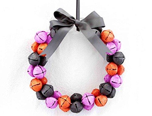 Metall Blättern lila, orange und schwarz Glocke mit Schleife Halloween Kranz