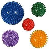 POWRX Massageball | Noppenball für Reflexzonen Massage Selbstmassage | Igelball Größen | Einzeln oder 5er Set | Ball mit Noppen (5er Set)