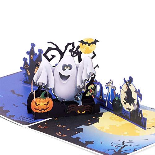 Halloween Pop-up-Grußkarte, Ghost Night Kürbis Bat Kostüm 3D handgemachte Karte mit Note Karte und Umschlag für Halloween Motto Party - 15 x 15 cm