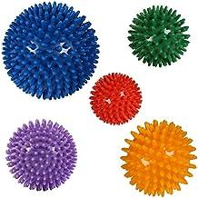 POWRX Massageball | Noppenball für Reflexzonen Massage Selbstmassage | Igelball Verschiedene Farben und Größen | Einzeln Oder 5er Set | Ball mit Noppen