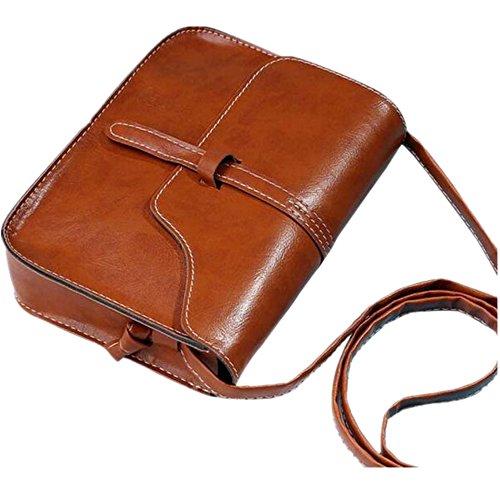 Bolsos para Mujeres,KanLin1986 mujer Vintage cuero Bolsos de hombro Casual CrossBody Bolsas de mensajero Bolsos pequeño barato para niñas Señoras (marrón)