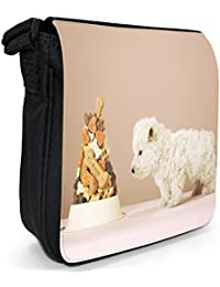 Puppy Dog with Food Bowl Small Black Canvas Shoulder Bag / Handbag