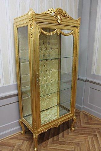 LouisXV Barock Vitrine Schrank Antik Stil Louis XV Rokoko AlVi0250GoRdS antik Stil Massivholz....