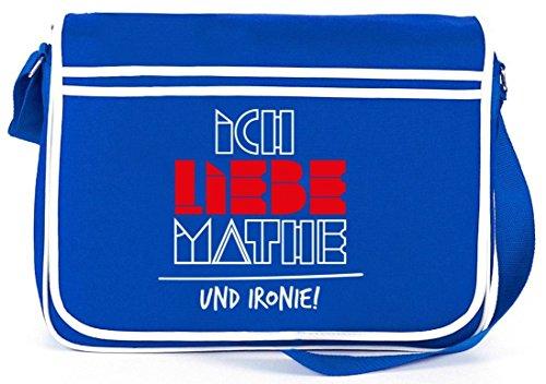 Ich liebe Mathe, Retro Messenger Bag Kuriertasche Umhängetasche Royal Blau