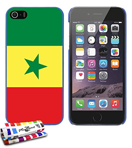 Ultraflache weiche Schutzhülle APPLE IPHONE 5S / IPHONE SE [Flagge Senegal] [Grun] von MUZZANO + STIFT und MICROFASERTUCH MUZZANO® GRATIS - Das ULTIMATIVE, ELEGANTE UND LANGLEBIGE Schutz-Case für Ihr  Blau