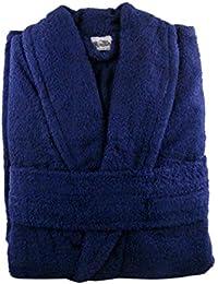 Peignoir Tissu éponge 100% coton Peignoir de bain + ceinture assortie–Extra Large/poitrine Taille 144,8cm–152,4cm, 100 % coton, bleu marine, CL