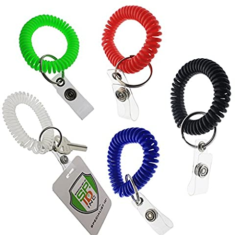 5 Pack - Ultimate Wrist Coil Camper Keychains for Work and Play - Premium Elastic Bungee Badge Holder & Key Chain Ring (One Size Fits All) by Specialist ID (Assorted