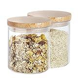 Cajas de almacenamiento Buonostar, juego de 2 piezas de vidrio/de madera natural. Un tarro de vidrio...