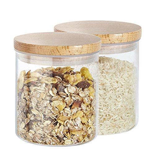Kit 2 pièces boîtes à provisions Buonostar en verre/bois naturel. Bocaux en verre borosilicate avec couvercle en bois naturel et joint en silicone.