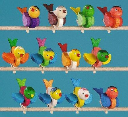 12 Vögel mit Klammer, 60mm