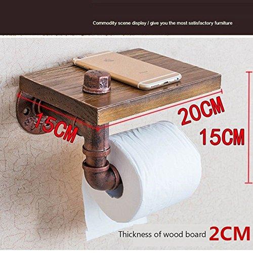 Industrielle toilettenpapierhalter,Holz eisen serviette frame vintage alte einfache kreative wc-papier handtuch handtuchhalter euro gewebe halter-A (Vintage-papier-handtuch-halter)
