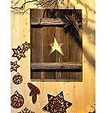 Metallmichl Edelrost Deko Fensterladen aus Altholz Fichte, Sternauschnitt mit Stern rechts Höhe 70 cm, handgemacht Holzdekoration zum hängen oder Stellen Test