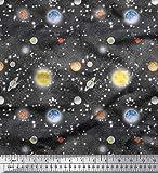 Soimoi Grau Baumwoll-Popeline Stoff Planet & Sonne Galaxis