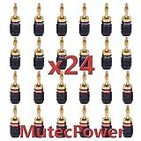 MutecPower Pro Banana plugs 24K Gold- 24 pack (12Black + 12Red)