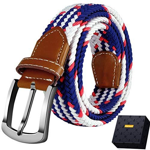 Fairwin Cinturón Elástico Trenzado Para Hombres y Mujeres, Unisex Casual Tejido Cinturon Trenzado,Cinturones Elásticos Tejidos para Jeans (XL(cintura 100-110cm/41-44), Multicolor)