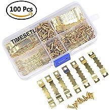 TIMESETL Kit de 100 pcs Marco de Fotos Ganchos Durable para Colgar - 100pcs Piezas Colgantes Doble Agujero + 200pcs Tornillos con Caja de Almacenamiento (Dorado)