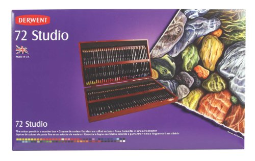 Derwent Studio Colouring Pencils, Set of 72 in a Wooden Gift Box, Professional Quality, 32199
