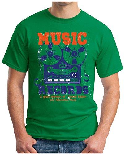 OM3 - MUSIC-RECORDS - T-Shirt ROCK POP CASSETTE ALTERNATIVE TAPE RECORD LP MC CD Grün