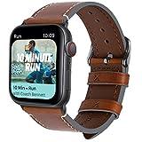Fullmosa Compatible avec Bracelet Apple Watch/iwatch 40mm 44mm en Cuir,8 Couleurs Bracelet Vintage pour Apple Watch Serie 4 / AppleWatchNike+ Serie 4, Brun foncé + Boucle Grise fumée 44mm
