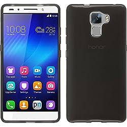 PhoneNatic Coque en Silicone Compatible avec Huawei Honor 7 - Transparent Noir - Cover Cubierta + Films de Protection
