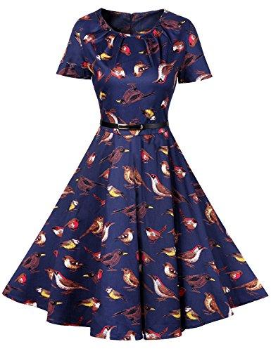 Nlife Abito longuette altalena per donna con stampa floreale manica corta girocollo con zip posteriore Blue