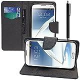 VCOMP Samsung Galaxy Note 2 N7100/ N7105: Etui portefeuille cuir PU Livre rabat support vidéo + stylet - NOIR