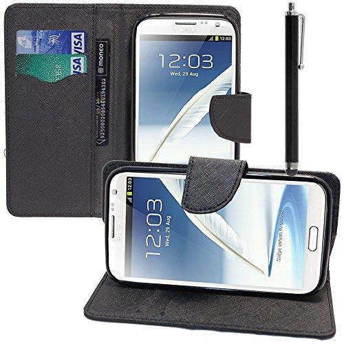 VCOMP® Samsung Galaxy Note 2 N7100/ N7105: Etui portefeuille cuir PU Livre rabat support vidéo + stylet - NOIR
